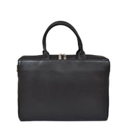 Womens Luxury Soft Leather Briefcase Shoulder Bag A62 Black Front