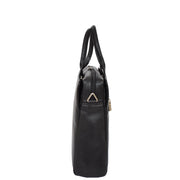 Womens Luxury Soft Leather Briefcase Shoulder Bag A62 Black Side