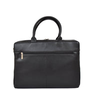 Womens Luxury Soft Leather Briefcase Shoulder Bag A62 Black Back