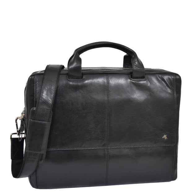Genuine Leather Briefcase Laptop Organiser Business Office Bag A124 Black