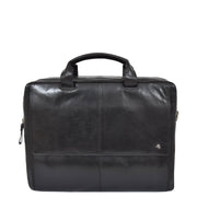 Genuine Leather Briefcase Laptop Organiser Business Office Bag A124 Black Front