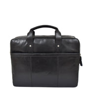 Genuine Leather Briefcase Laptop Organiser Business Office Bag A124 Black Back