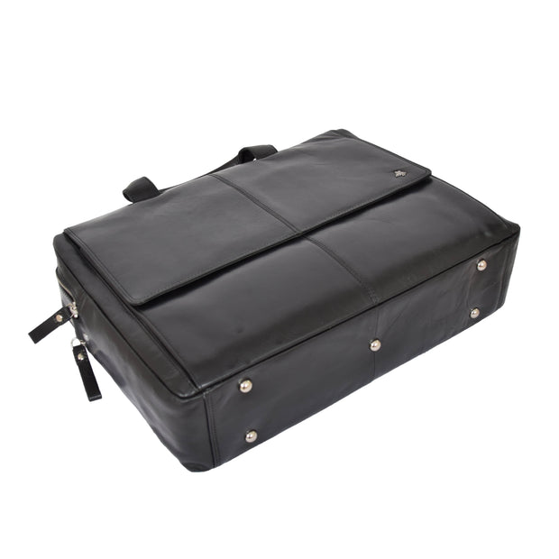 Genuine Leather Briefcase Laptop Organiser Business Office Bag A124 Black Letdown