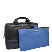 Genuine Leather Briefcase Laptop Organiser Business Office Bag A124 Black With Sleeve