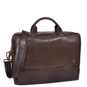 Genuine Leather Briefcase Laptop Organiser Business Office Bag A124 Brown