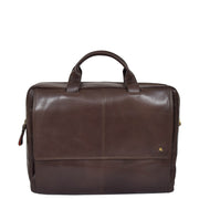 Genuine Leather Briefcase Laptop Organiser Business Office Bag A124 Brown Front