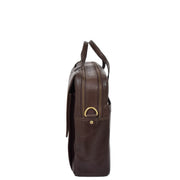Genuine Leather Briefcase Laptop Organiser Business Office Bag A124 Brown Side