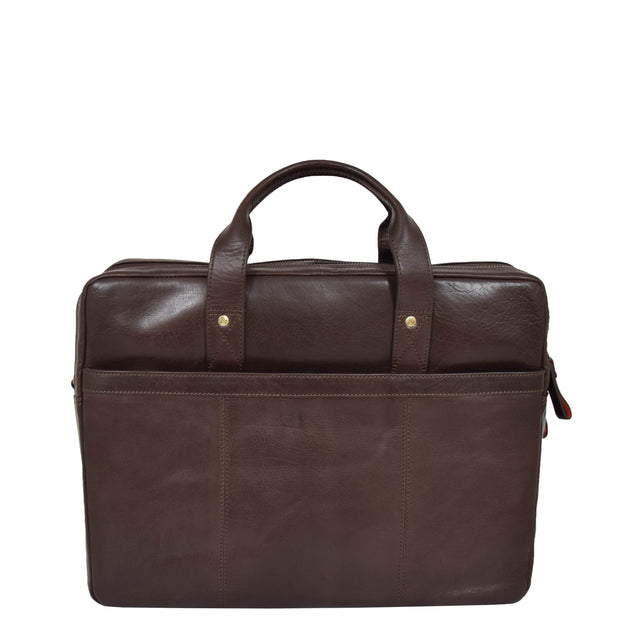 Genuine Leather Briefcase Laptop Organiser Business Office Bag A124 Brown Back