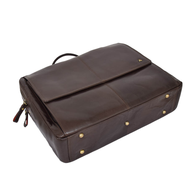 Genuine Leather Briefcase Laptop Organiser Business Office Bag A124 Brown Letdown