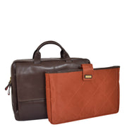 Genuine Leather Briefcase Laptop Organiser Business Office Bag A124 Brown With Sleeve
