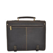 Real Leather Vintage Brown Briefcase Laptop Shoulder Bag A134 Back