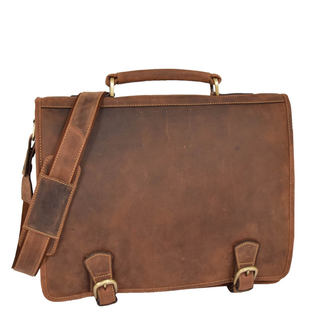 Real Leather Vintage Tan Briefcase Laptop Shoulder Bag A134