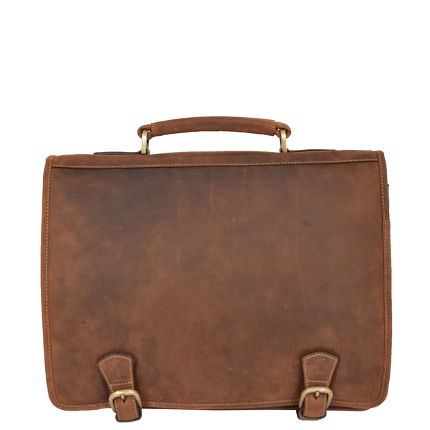 Real Leather Vintage Tan Briefcase Laptop Shoulder Bag A134 Front