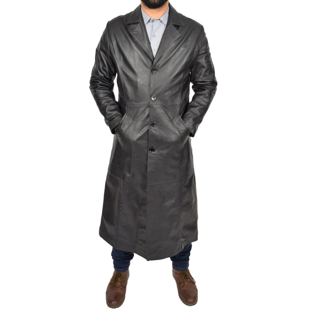 Mens Leather Overcoat Full Length Trench Coat Blade Black Front 1
