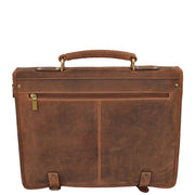 Real Leather Vintage Tan Briefcase Laptop Shoulder Bag A134 Back
