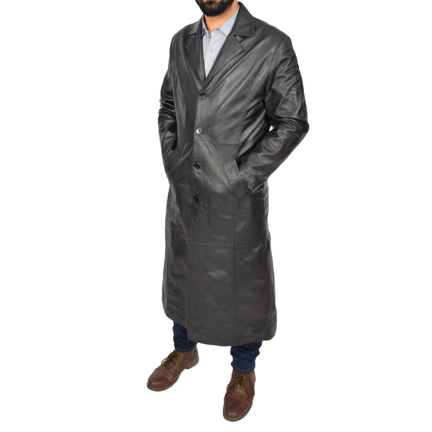 Mens Leather Overcoat Full Length Trench Coat Blade Black Front 2