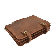 Real Leather Vintage Tan Briefcase Laptop Shoulder Bag A134 Letdown