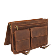 Real Leather Vintage Tan Briefcase Laptop Shoulder Bag A134 Open