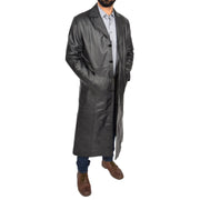 Mens Leather Overcoat Full Length Trench Coat Blade Black Open 2