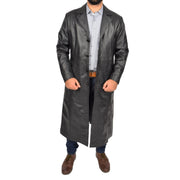 Mens Leather Overcoat Full Length Trench Coat Blade Black Open 3