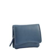 Womens Trifold Genuine Leather Purse Compact Clutch Style Wallet AL16 Blue
