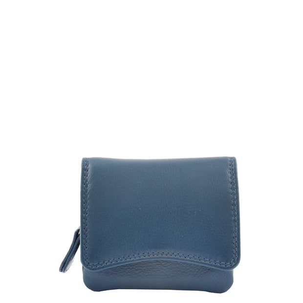 Womens Trifold Genuine Leather Purse Compact Clutch Style Wallet AL16 Blue Front