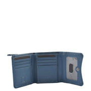 Womens Trifold Genuine Leather Purse Compact Clutch Style Wallet AL16 Blue Open 1