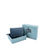 Womens Trifold Genuine Leather Purse Compact Clutch Style Wallet AL16 Blue With Box