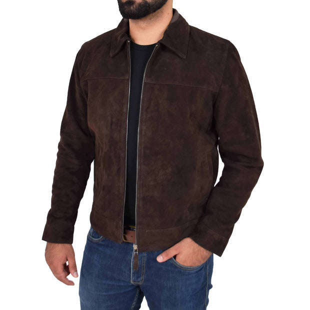 Mens Genuine Soft Suede Zip Jasper Blouson Jacket Baxter Brown Open