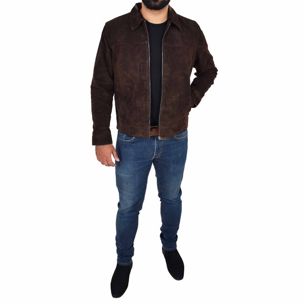 Mens Genuine Soft Suede Zip Jasper Blouson Jacket Baxter Brown Full