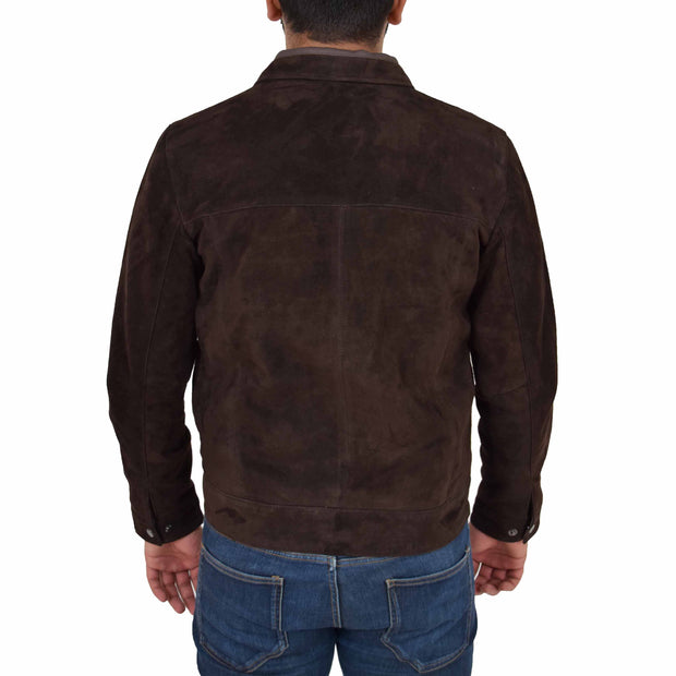 Mens Genuine Soft Suede Zip Jasper Blouson Jacket Baxter Brown Back