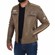Mens Real Leather Biker Jacket Sports Badges Coat Saul Brown