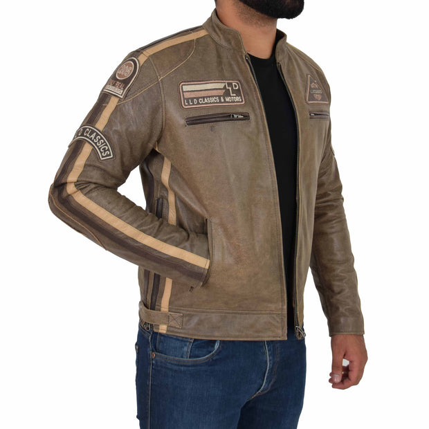 Mens Real Leather Biker Jacket Sports Badges Coat Saul Brown Open