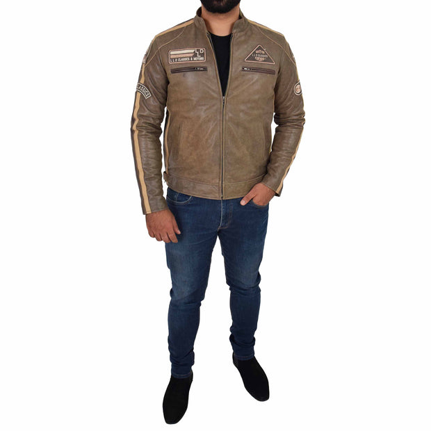 Mens Real Leather Biker Jacket Sports Badges Coat Saul Brown Full
