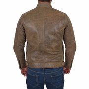 Mens Real Leather Biker Jacket Sports Badges Coat Saul Brown Back