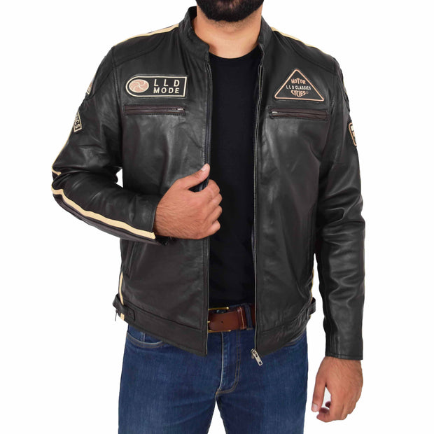 Mens Real Leather Biker Jacket Sports Badges Coat Saul Black