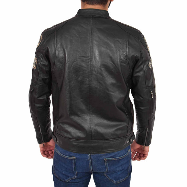 Mens Real Leather Biker Jacket Sports Badges Coat Saul Black Back