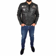 Mens Real Leather Biker Jacket Sports Badges Coat Saul Black Full