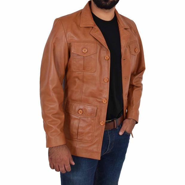 Mens Real Leather Safari Jacket Retro Blazer Coat Sylas Tan Open 1