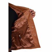 Mens Real Leather Safari Jacket Retro Blazer Coat Sylas Tan Lining