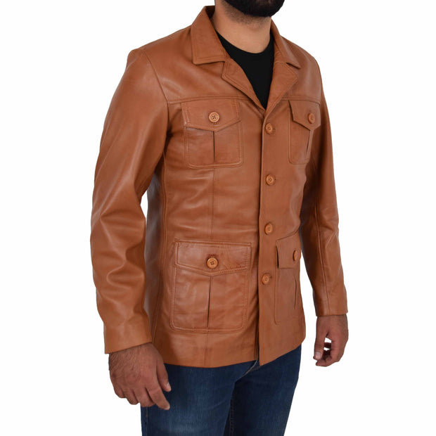 Mens Real Leather Safari Jacket Retro Blazer Coat Sylas Tan