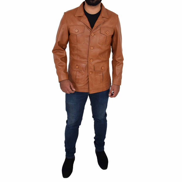 Mens Real Leather Safari Jacket Retro Blazer Coat Sylas Tan Full