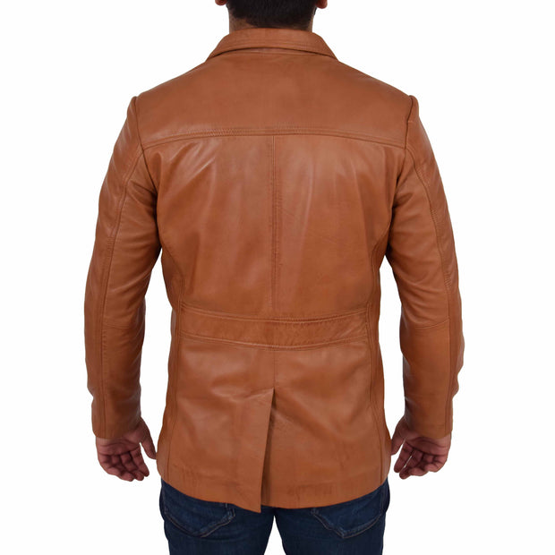 Mens Real Leather Safari Jacket Retro Blazer Coat Sylas Tan Back