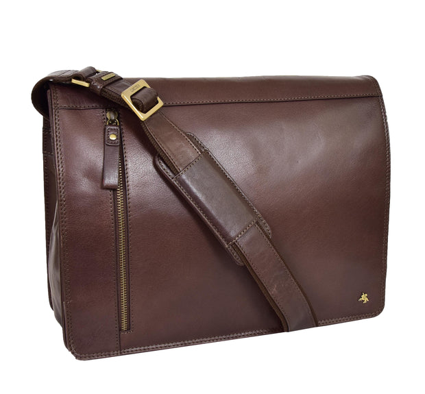 Mens Cross Body Leather Latest Messenger Bag DuJon Brown
