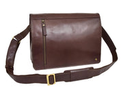 Mens Cross Body Leather Latest Messenger Bag DuJon Brown Front With Belt