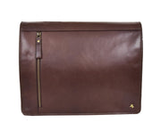 Mens Cross Body Leather Latest Messenger Bag DuJon Brown Front