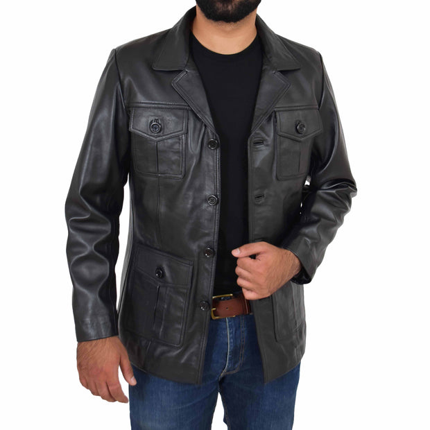 Mens Real Leather Safari Jacket Retro Blazer Coat Sylas Black Open 1