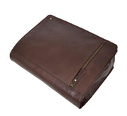 Mens Cross Body Leather Latest Messenger Bag DuJon Brown Front Letdown