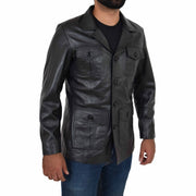 Mens Real Leather Safari Jacket Retro Blazer Coat Sylas Black