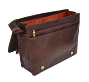 Mens Cross Body Leather Latest Messenger Bag DuJon Brown Open
